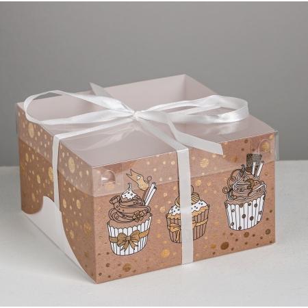 Коробка на 4 капкейка с прозрачной крышкой Сластене