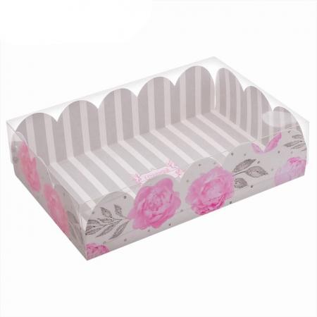 """Коробочка для сладостей с прозрачной крышкой 20x30 см """"Цветы"""""""