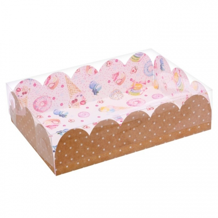 """Коробочка для сладостей с прозрачной крышкой 20x30 см """"Сладости"""""""