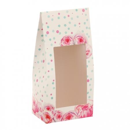 """Коробочка для сладостей с окошком """"Цветы"""" 9x19x6 см"""