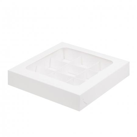 Коробка для конфет на 9 шт с прозрачной крышкой