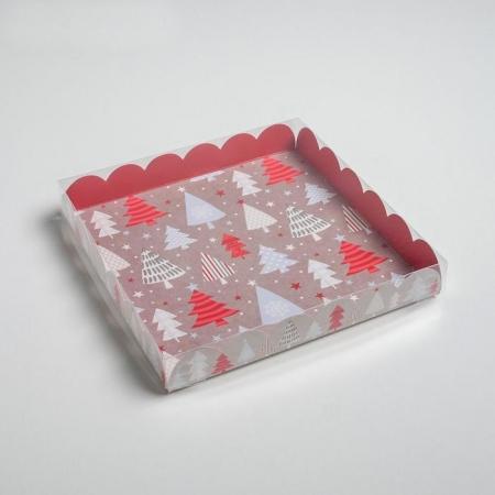 """Коробка для пряников """"Елочки"""" 21х21х3 см"""