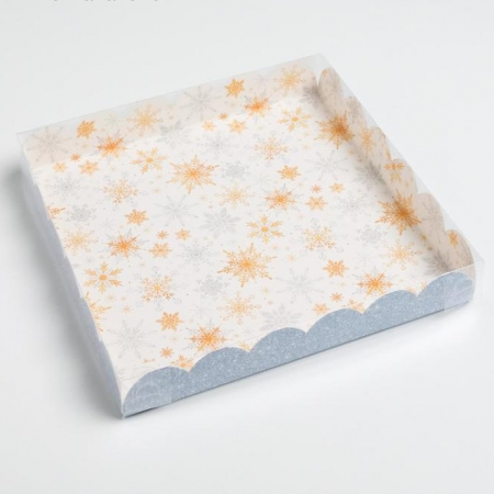 """Коробка для пряников """"Снежинки-Иней"""" 21х21х3 см"""
