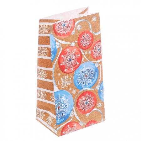 Пакет бумажный для сладостей Елочные шарики