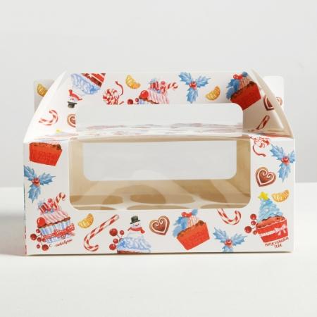 """Коробка на 6 капкейков с окошком и ручками """"Зимние сладости"""""""