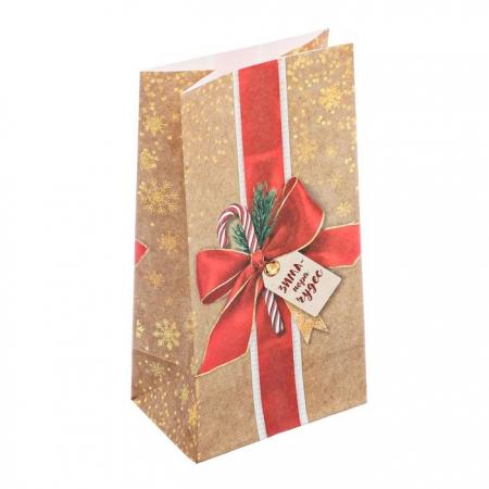 """Пакет бумажный для сладостей """"Бант и леденец"""""""
