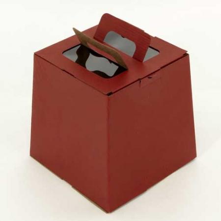 Коробка для кулича с окном красная 185х185х185 мм