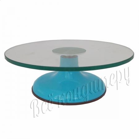 Поворотный столик стеклянный 30 см Голубой
