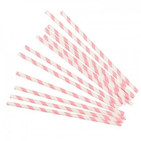 Трубочки для коктейля Полоска розовый 25 шт