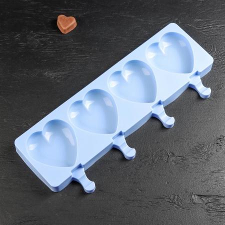 Форма силиконовая Эскимо-сердечки