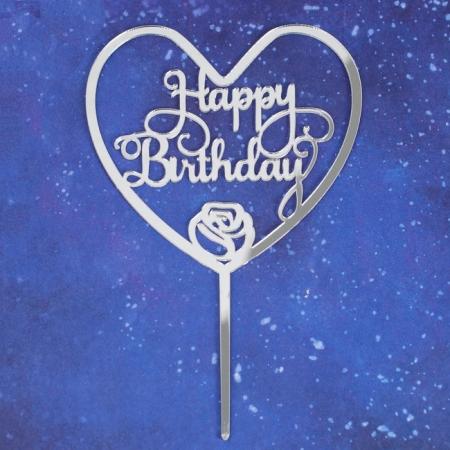 "Топпер ""Happy Birthday"" сердце"