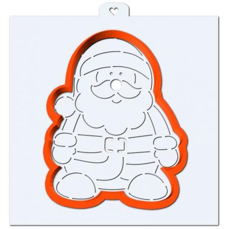 """Вырубка пластиковая с трафаретом """"Дед Мороз"""""""