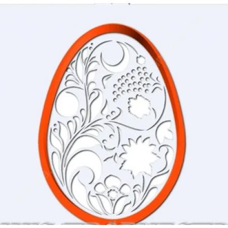 """Вырубка пластиковая с трафаретом """"Яйцо. Цветочная роспись"""""""